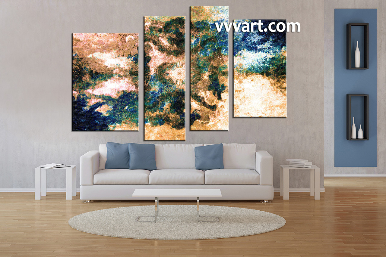 4 piece brown abstract modern oil paintings canvas art for Wall sculptures for living room