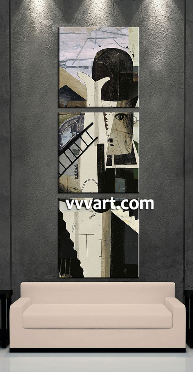 3 Piece Canvas Modern Oil Paintings Black Large Pictures