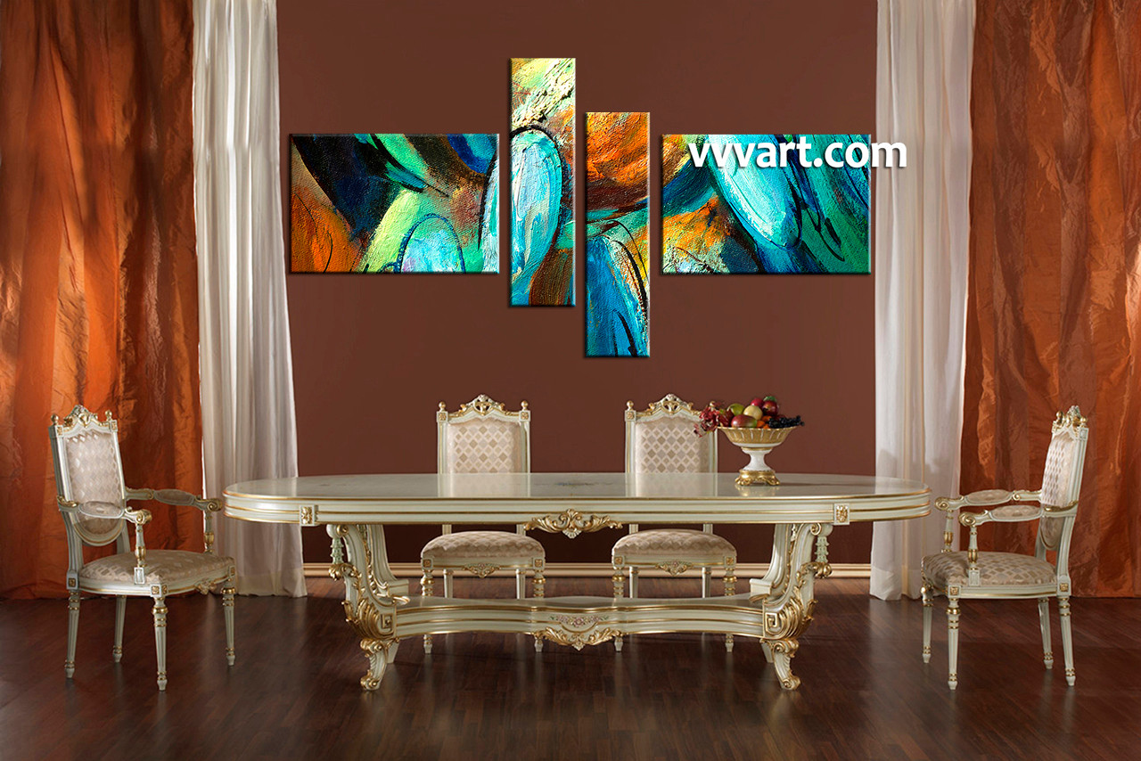 Dining Room Art, 4 Piece Canvas Huge Pictures, Modern Canvas Photography,  Abstract Canvas Part 83