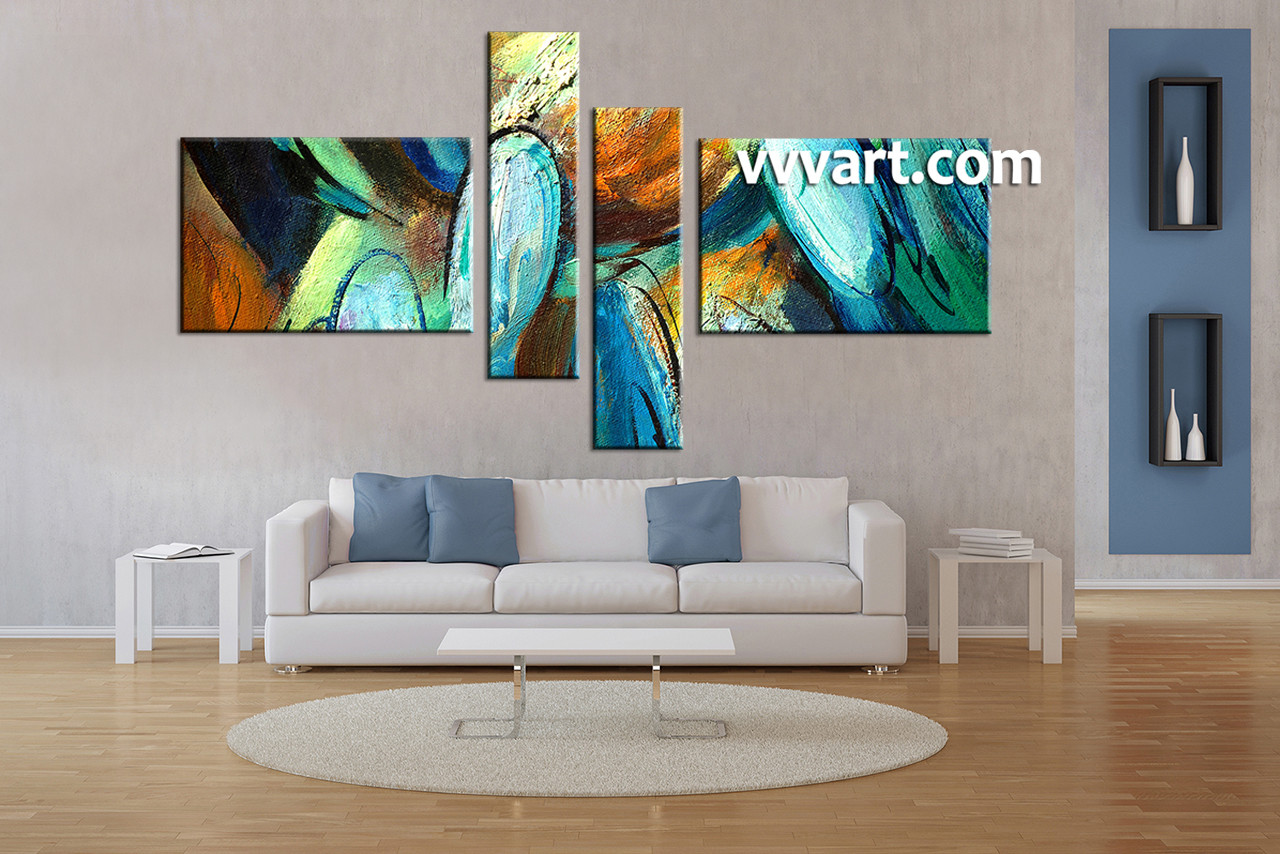 Living Room Art, 4 Piece Canvas Wall Art, Modern Decor, Abstract Pictures,