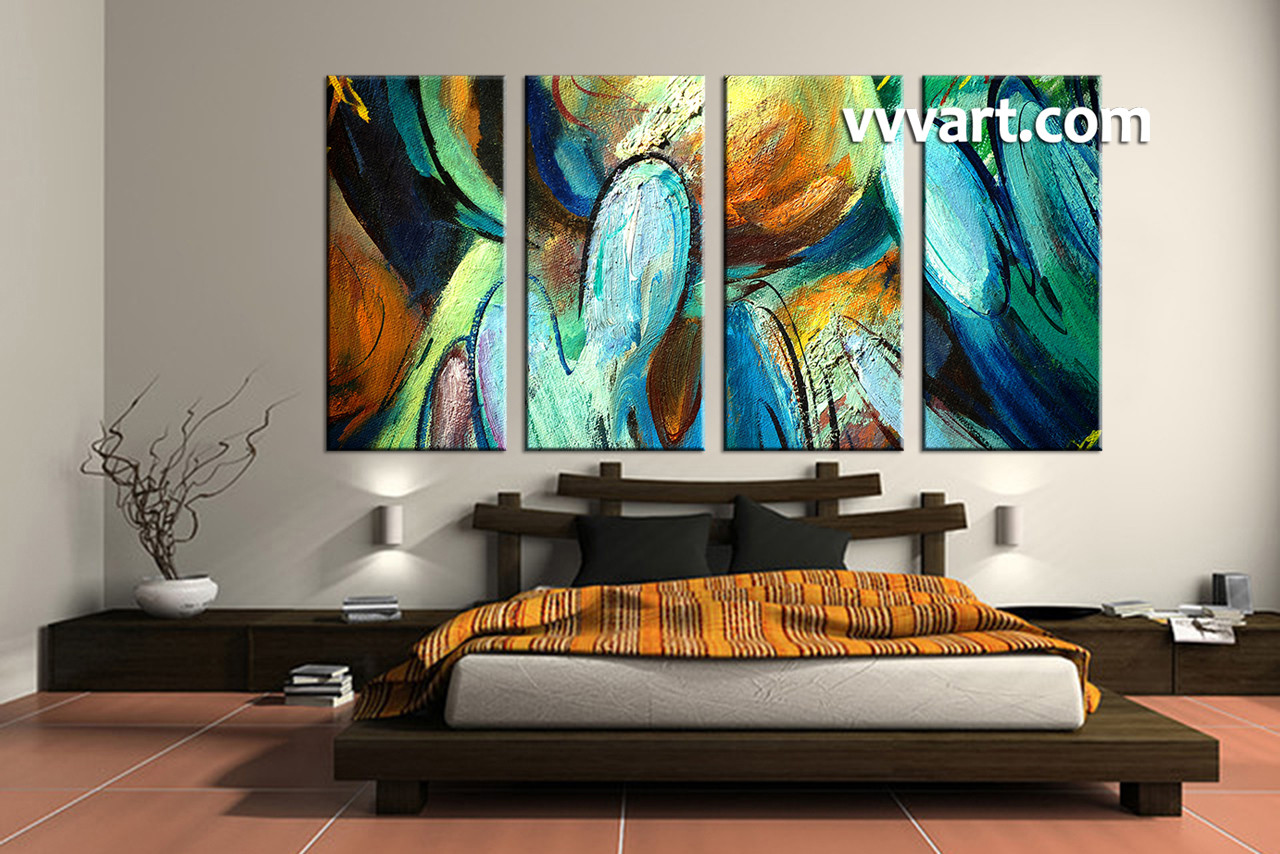 4 Piece Wall Art 4 piece colorful canvas abstract modern oil paintings art