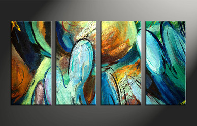 home decor, 4 piece wall art, abstract multi panel art, modern large canvas, abstract art