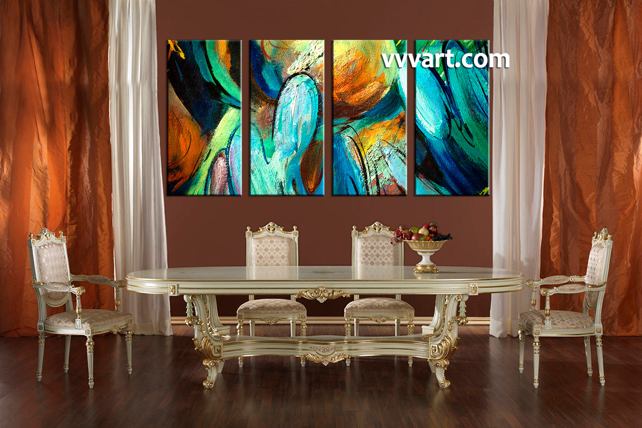 Dining Room Art, 4 Piece Canvas Huge Pictures, Abstract Canvas Photography,  Modern Canvas
