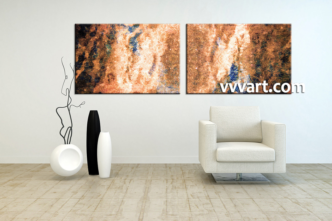 2 Piece Brown Abstract Oil Paintings Large Pictures