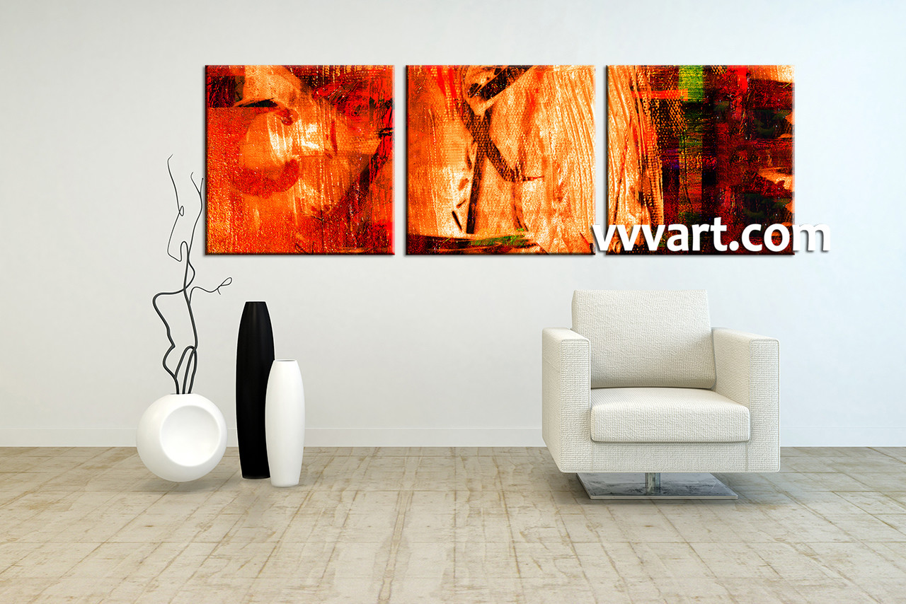 Canvas Wall Art Decor: 3 Piece Red Abstract Canvas Oil Paintings Wall Art