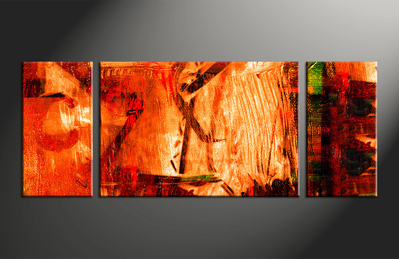 3pieces Modern Abstract Huge Wall Art Oil Painting On: 3 Piece Red Abstract Canvas Oil Paintings Art