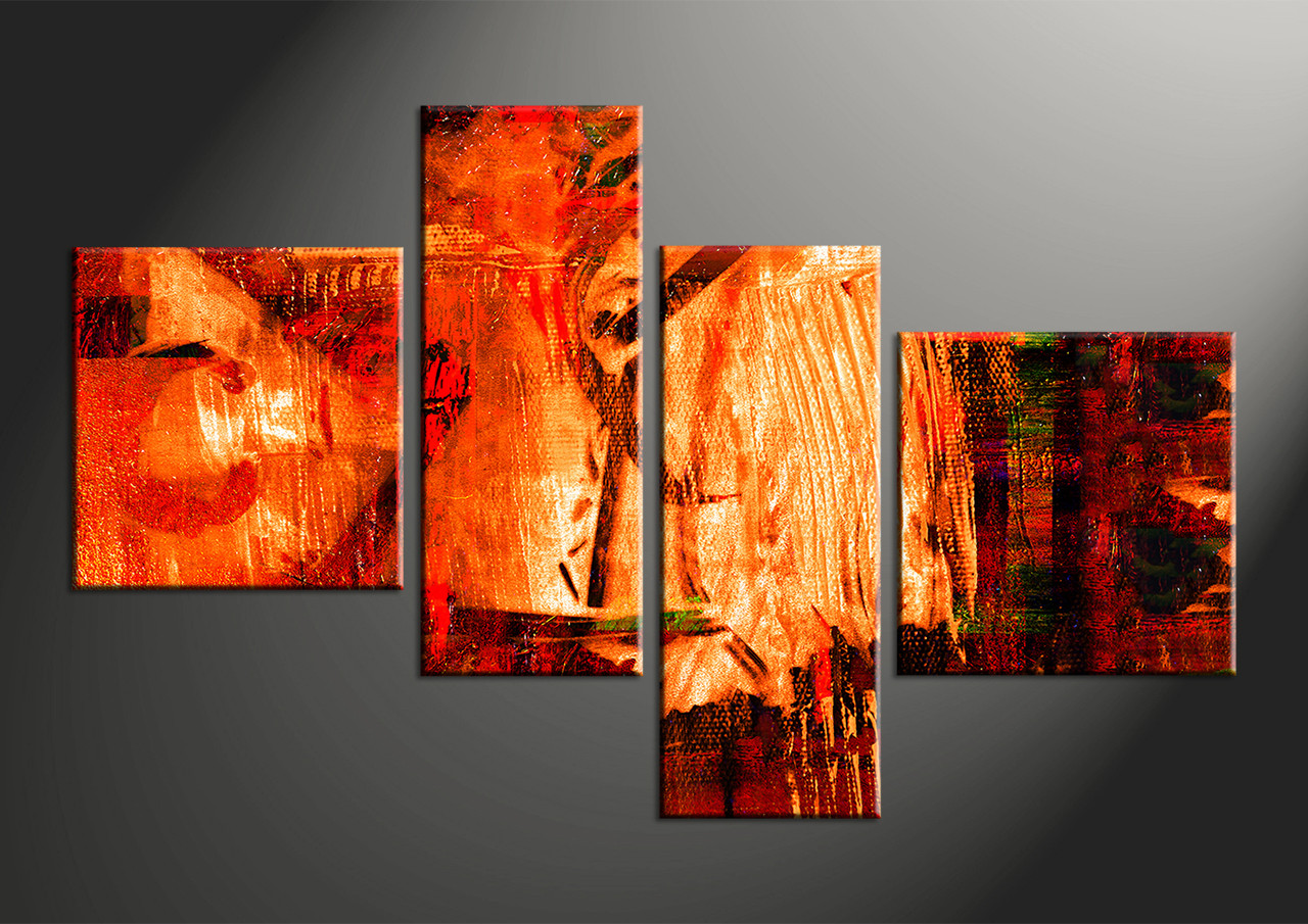 4 Piece Red Abstract Oil Paintings Huge Canvas Art