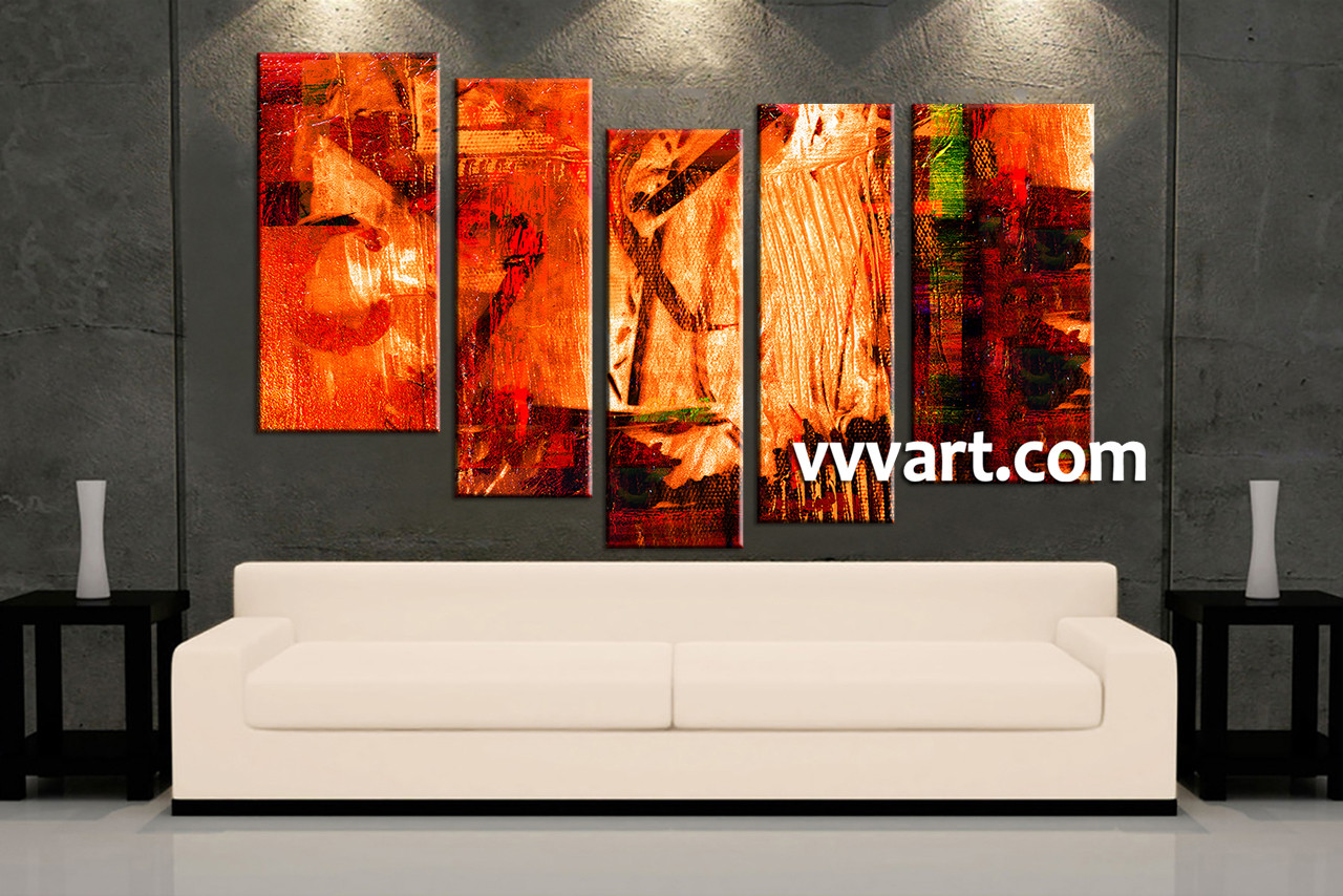 5 piece canvas oil paintings red abstract artwork. Black Bedroom Furniture Sets. Home Design Ideas