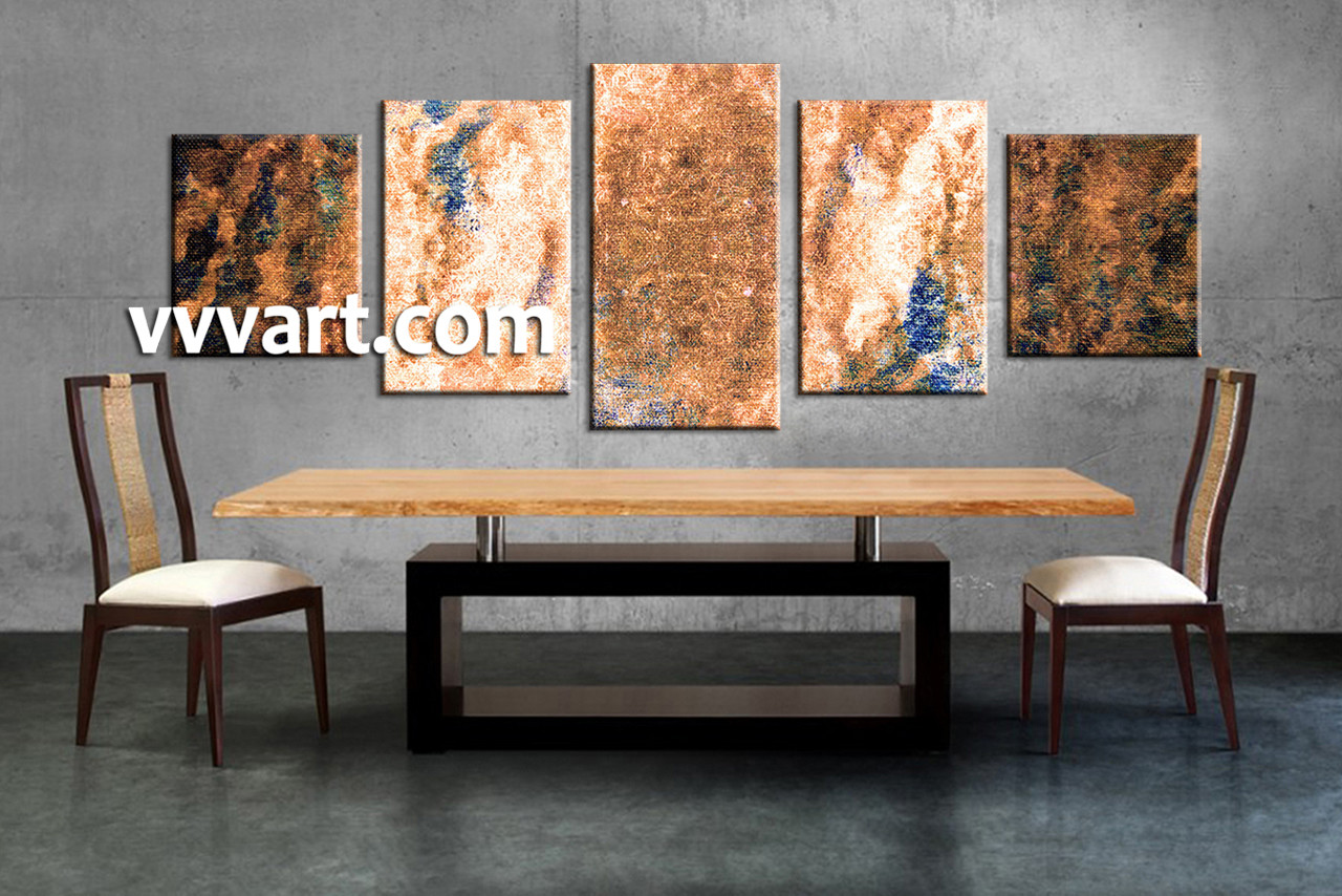 5 piece abstract brown oil paintings multi panel canvas