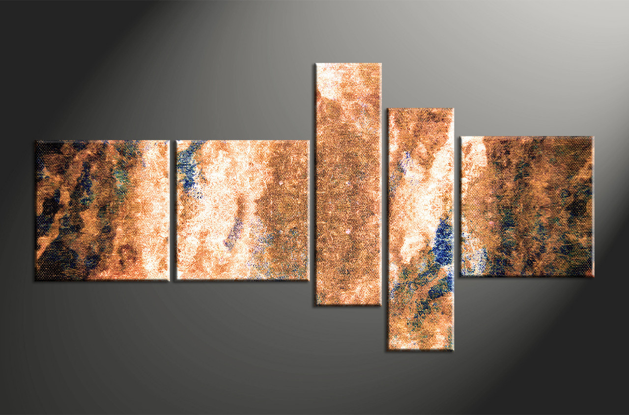 Wall Panel Art 5 piece canvas abstract brown oil paintings multi panel art