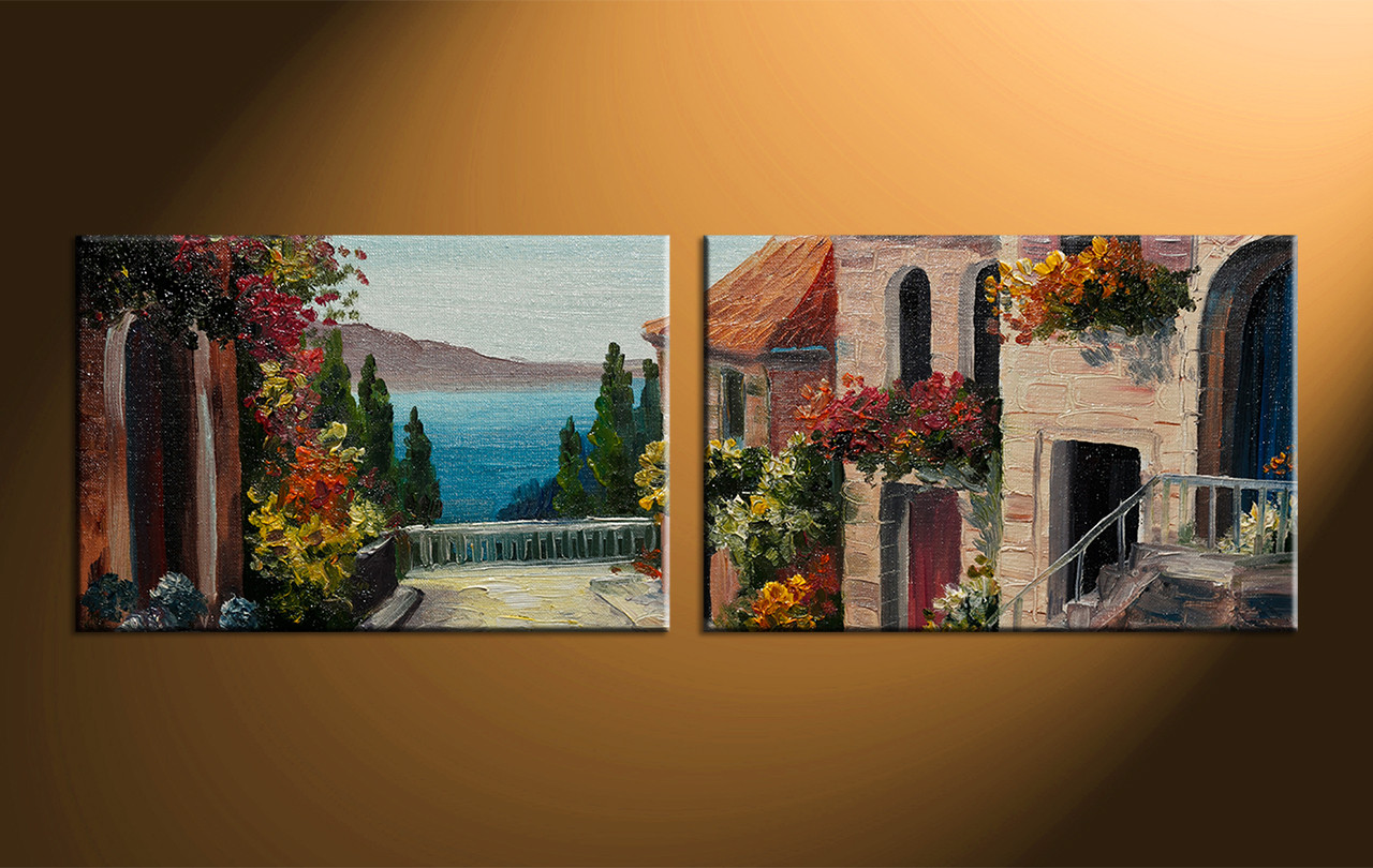 2 Piece Canvas Wall Art 2 piece colorful canvas city oil paintings wall art