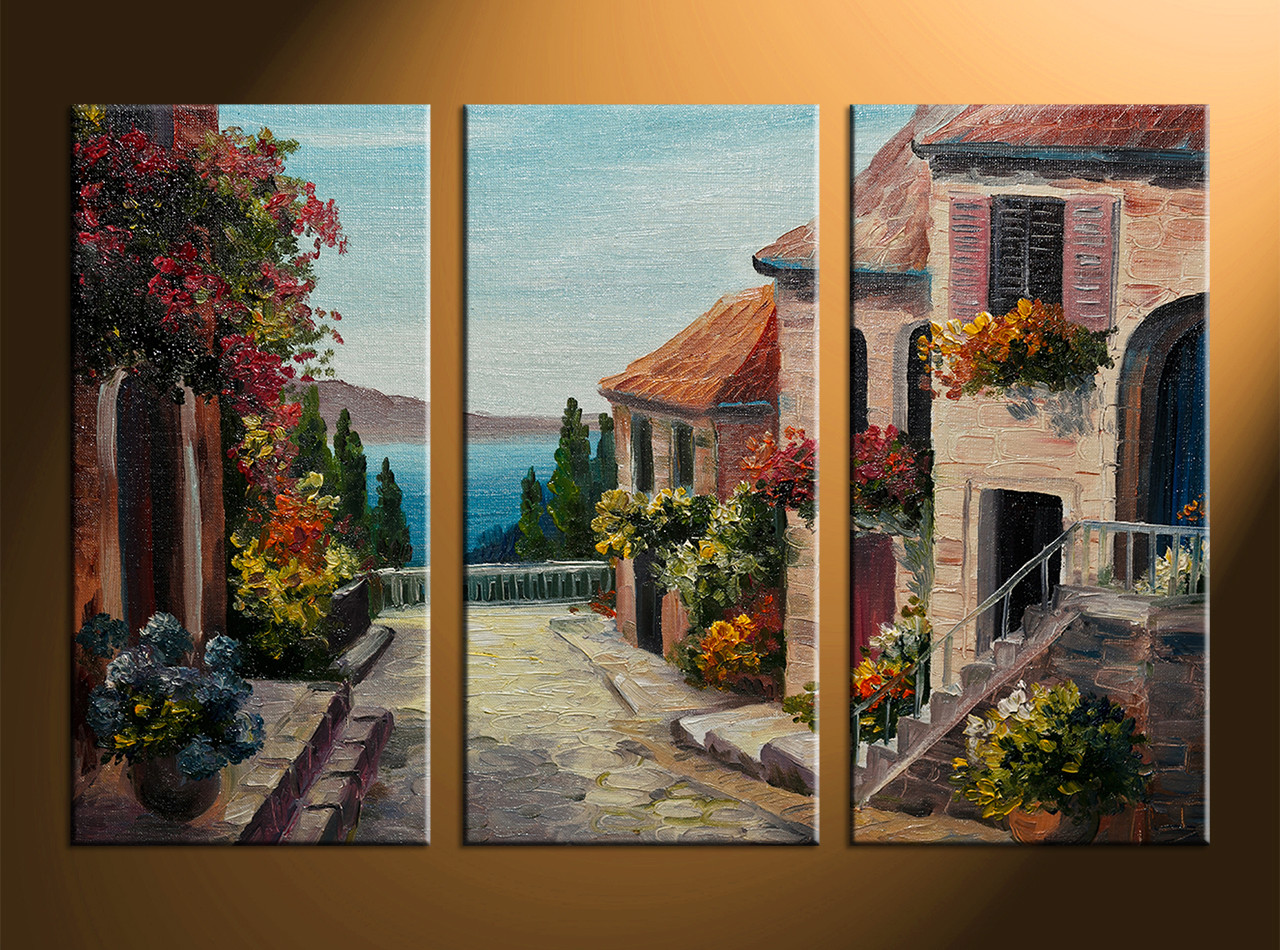 Art Décor: Triptych Colorful City Oil Paintings Canvas Wall Decor
