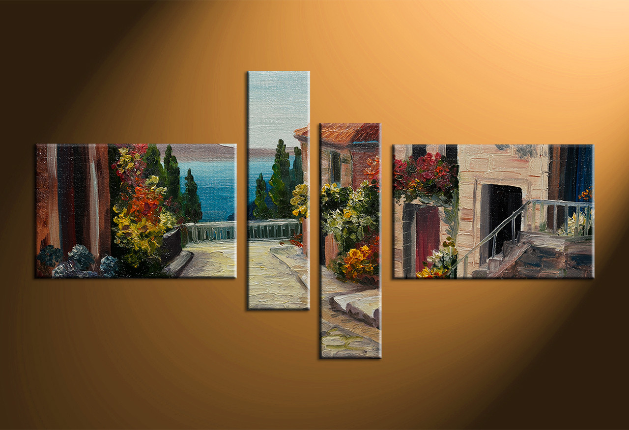 4 Piece Wall Art 4 piece colorful canvas city oil paintings multi panel art