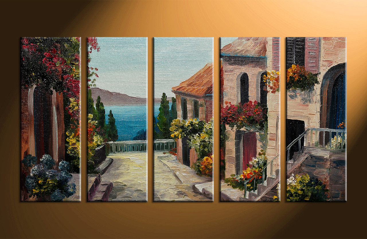 5 piece colorful canvas ocean city oil paintings decor for 5 piece mural