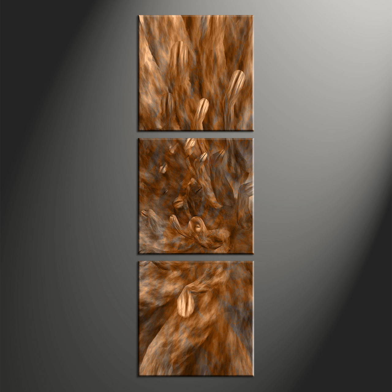 3 piece brown canvas oil paintings abstract wall decor for Vertical wall art