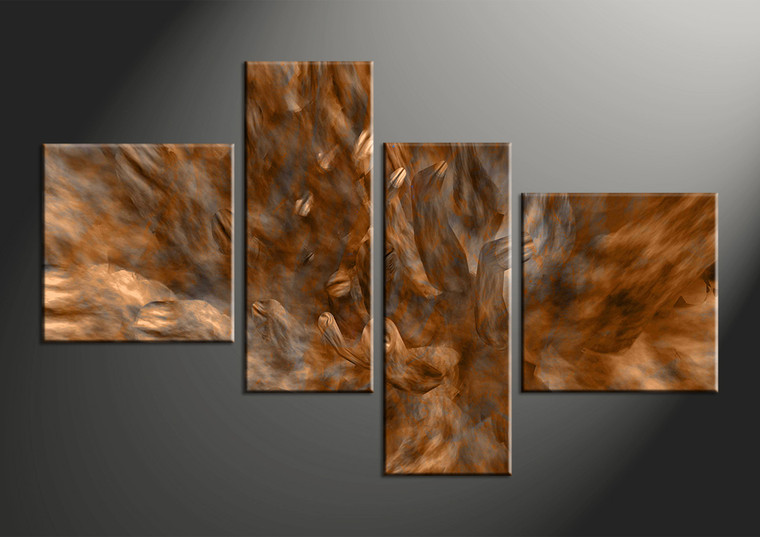 4 piece brown canvas oil paintings abstract pictures. Black Bedroom Furniture Sets. Home Design Ideas