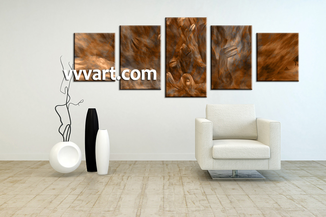 5 Piece Brown Oil Paintings Abstract Large Canvas