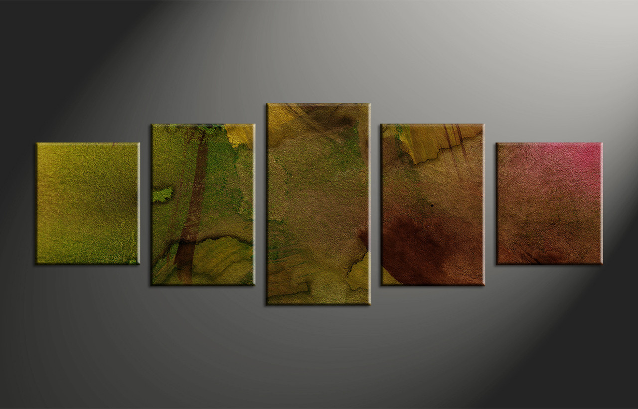 Large Abstract Wall Art 5 piece green abstract oil paintings multi panel canvas