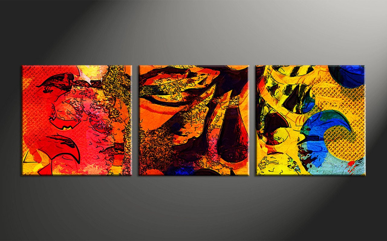 3 piece abstract colorful oil paintings decor for Colorful wall art