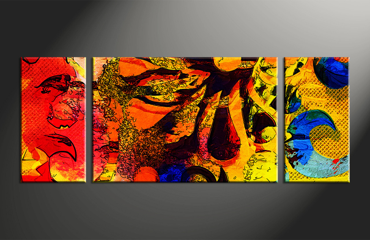 3pieces Modern Abstract Huge Wall Art Oil Painting On: 3 Piece Abstract Colorful Oil Paintings Large Canvas