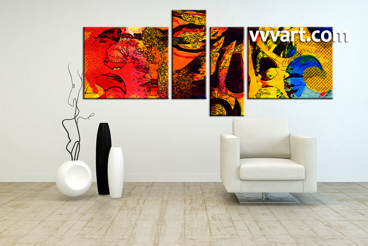 4 piece abstract colorful oil paintings canvas wall art. Black Bedroom Furniture Sets. Home Design Ideas