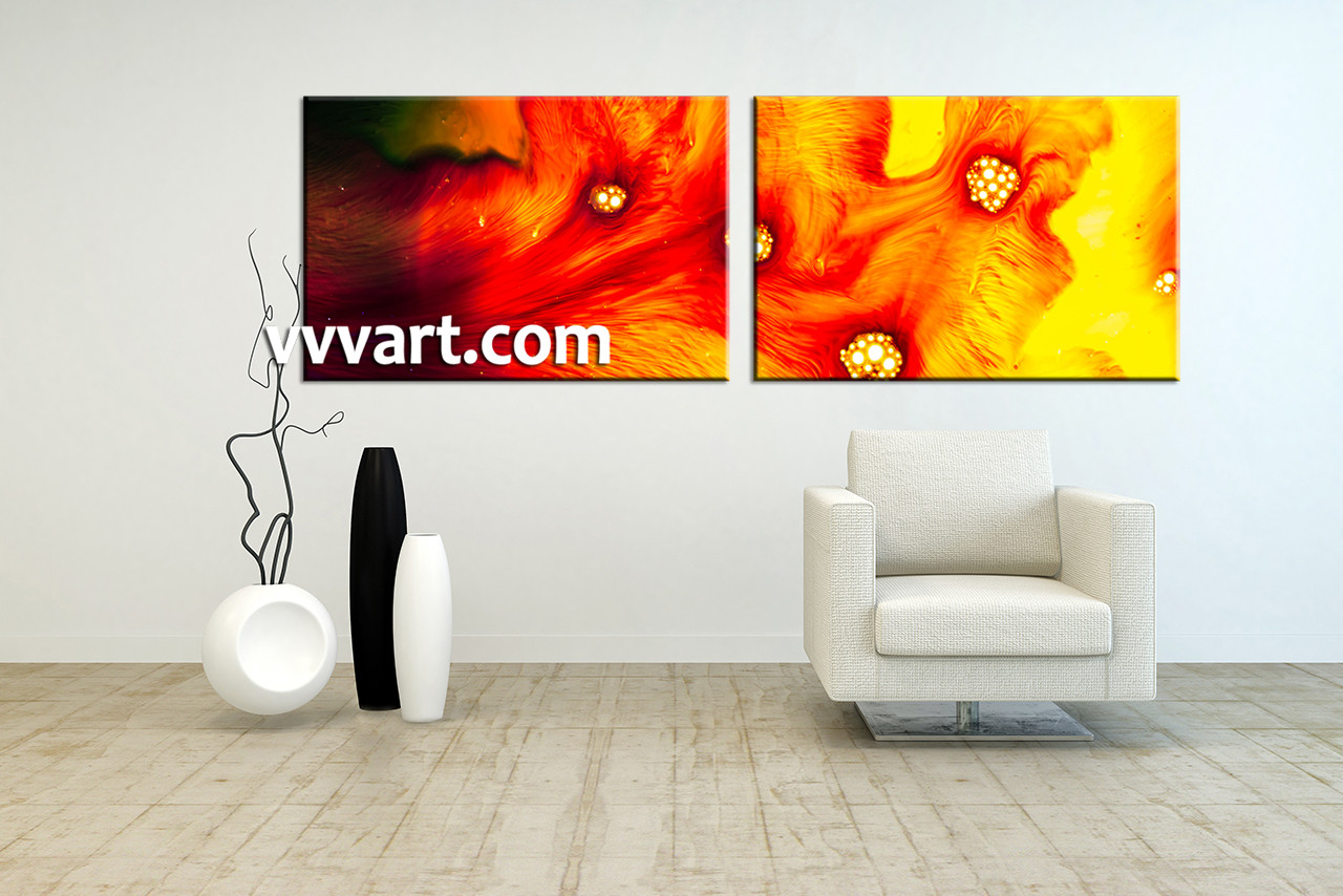 2 Piece Canvas Red Yellow Abstract Art