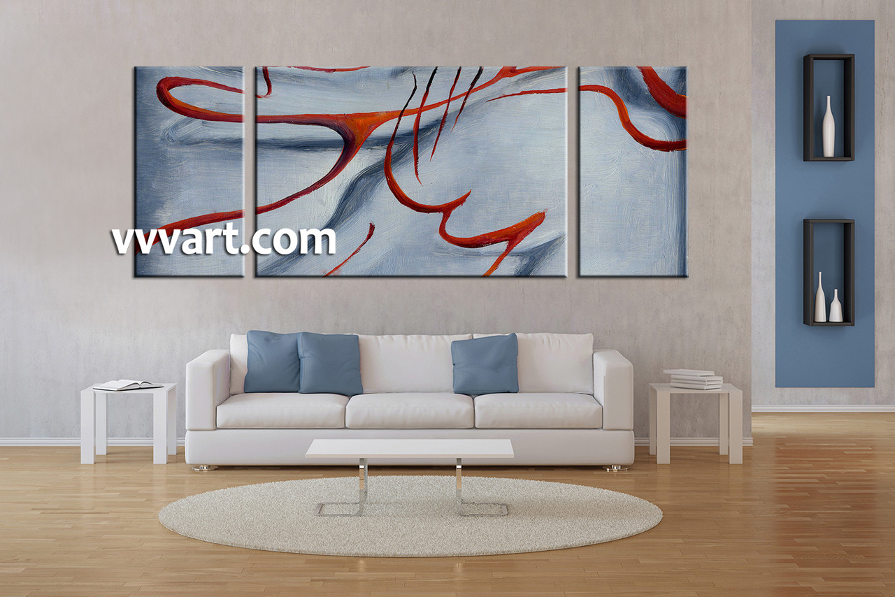 Living Room Art 3 Piece Canvas Wall Abstract Large Pictures