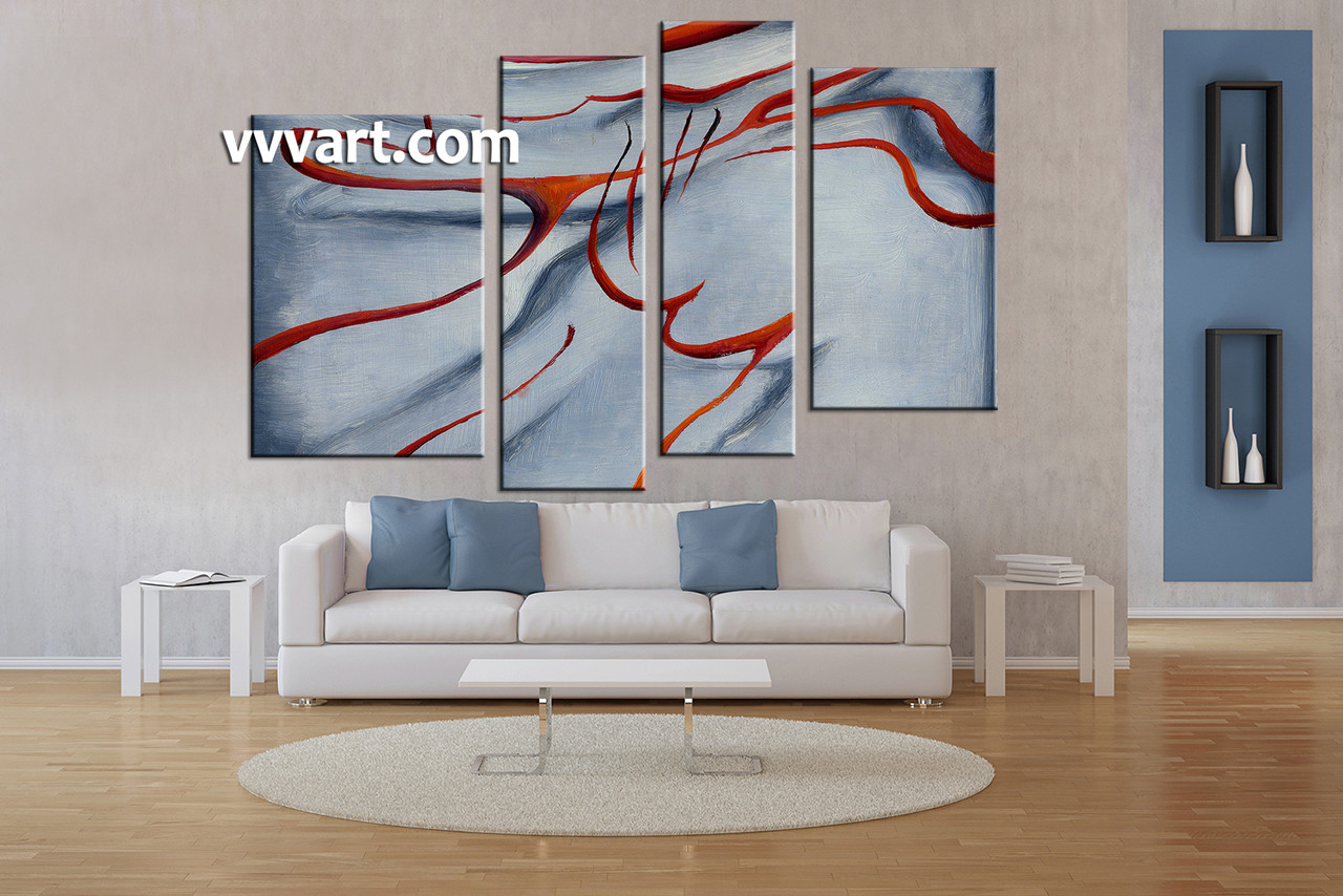 Large Paintings For Living Room 4 Piece Grey Abstract Canvas Wall Art