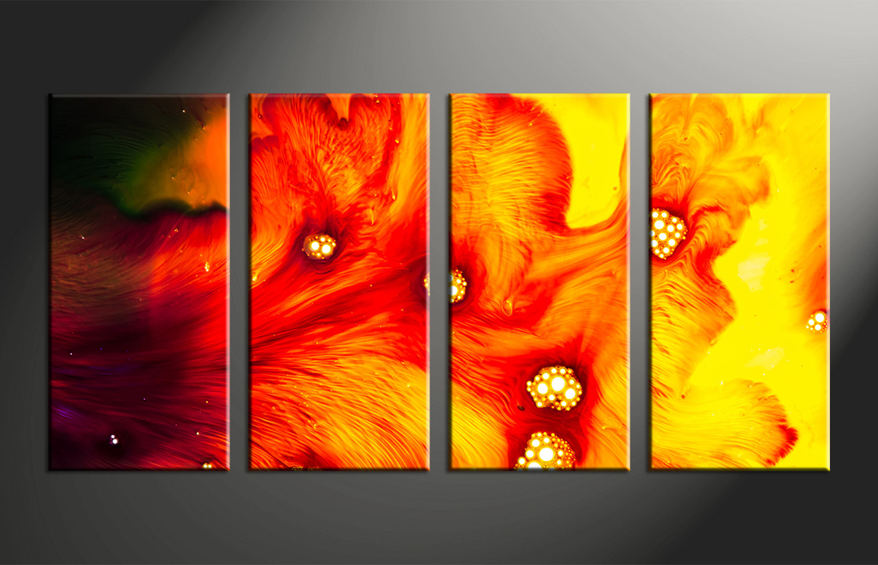 Red Canvas Wall Art 4 piece canvas red yellow abstract multi panel art