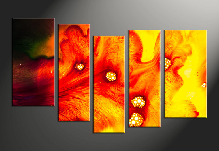 5 piece canvas red yellow abstract decor for 5 piece mural