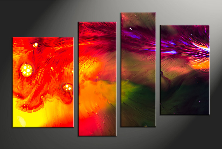 4 Piece Canvas Red Abstract Oil Paintings Huge Pictures