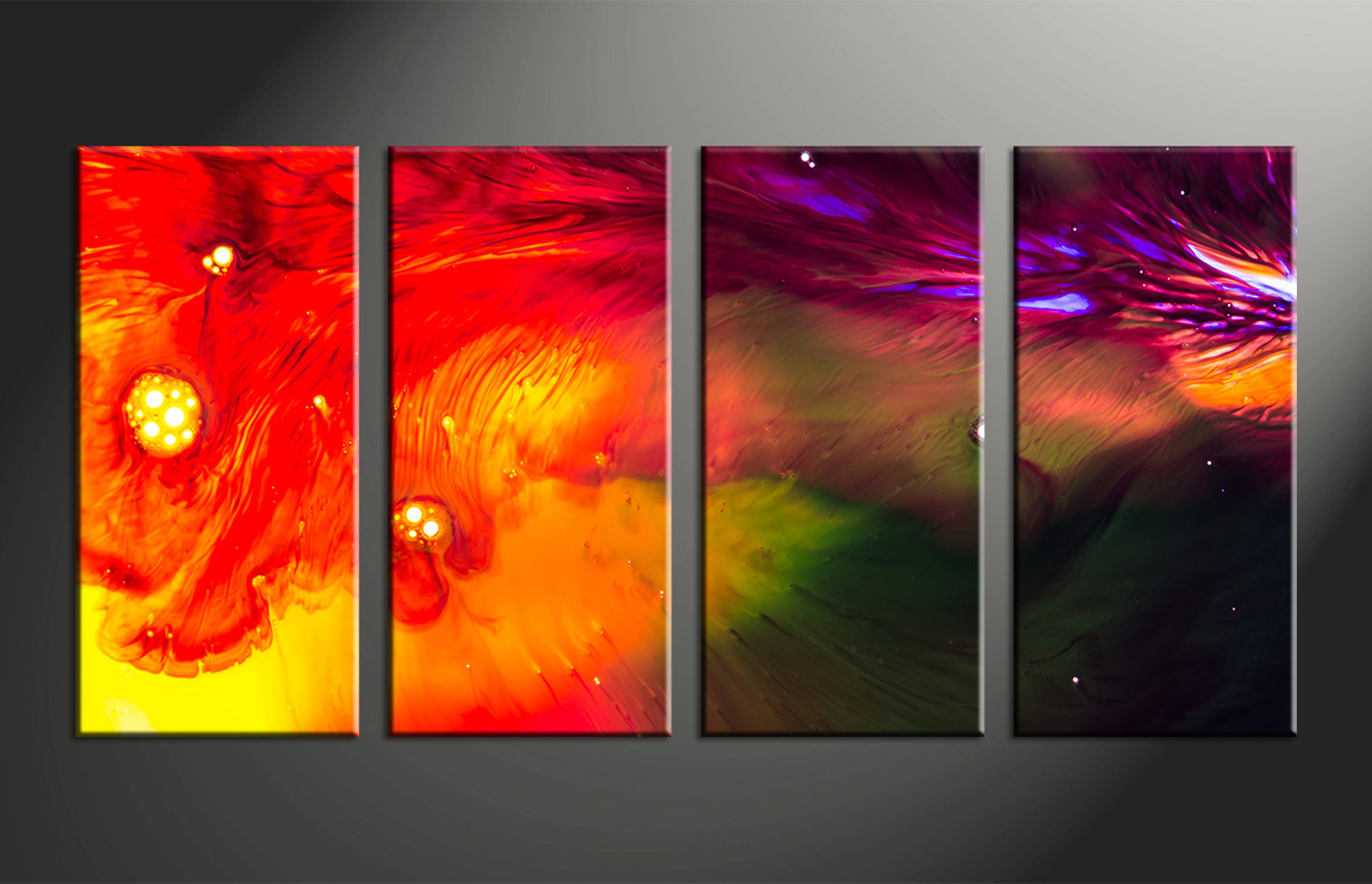 4 Piece Canvas Red Abstract Oil Paintings Multi Panel Art