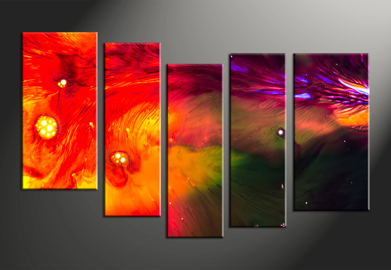 5 Piece Red Abstract Oil Paintings Huge Canvas Art