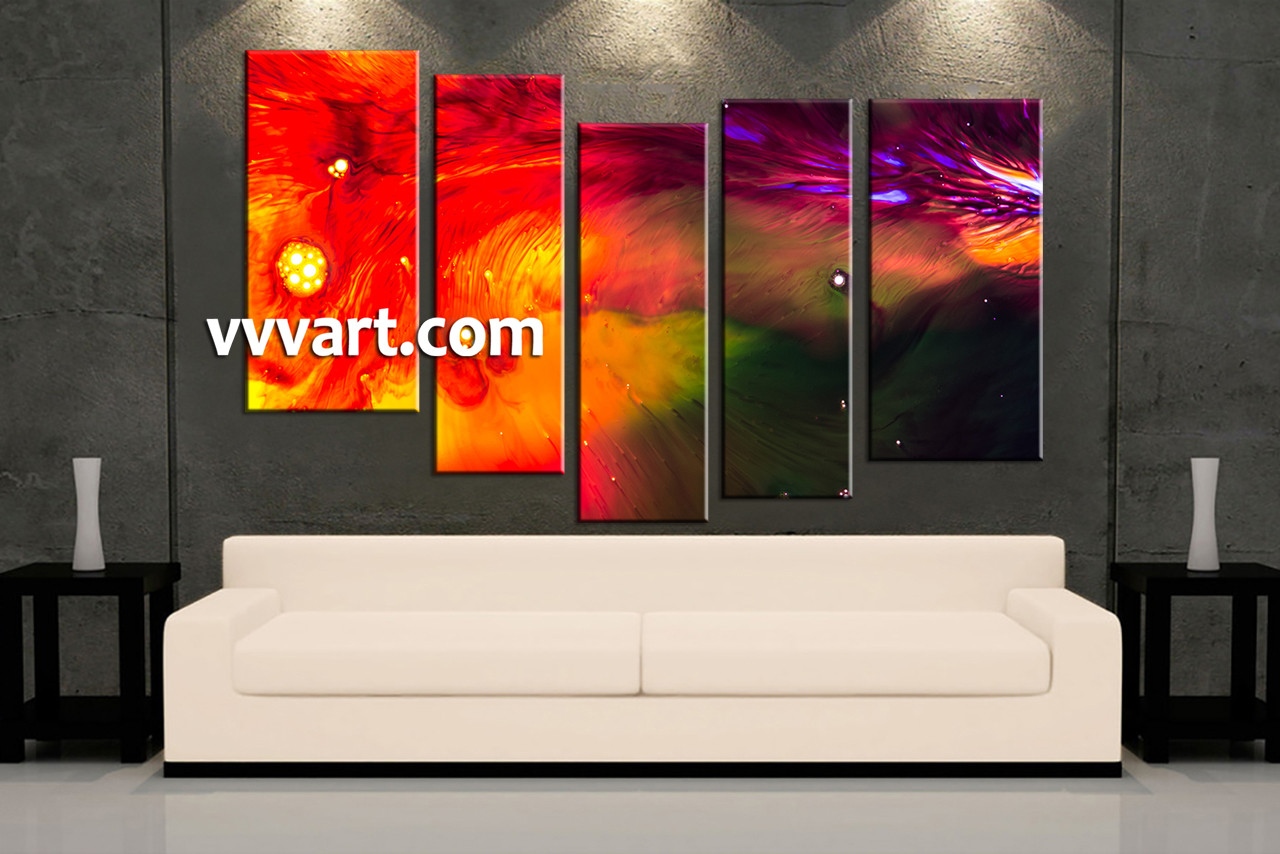 5 Piece Canvas Wall Art 5 piece red abstract oil paintings huge canvas art