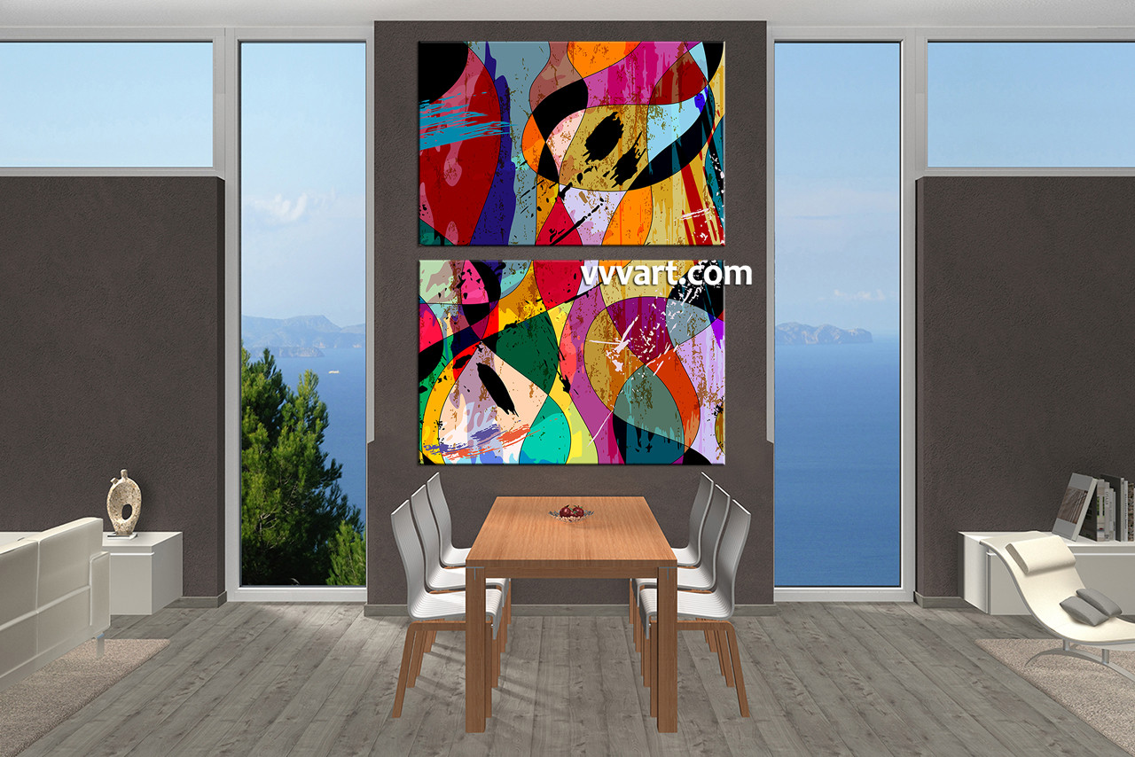 Dining Room Art, 2 Piece Canvas Wall Art, Oil Paintings Canvas Wall Art,