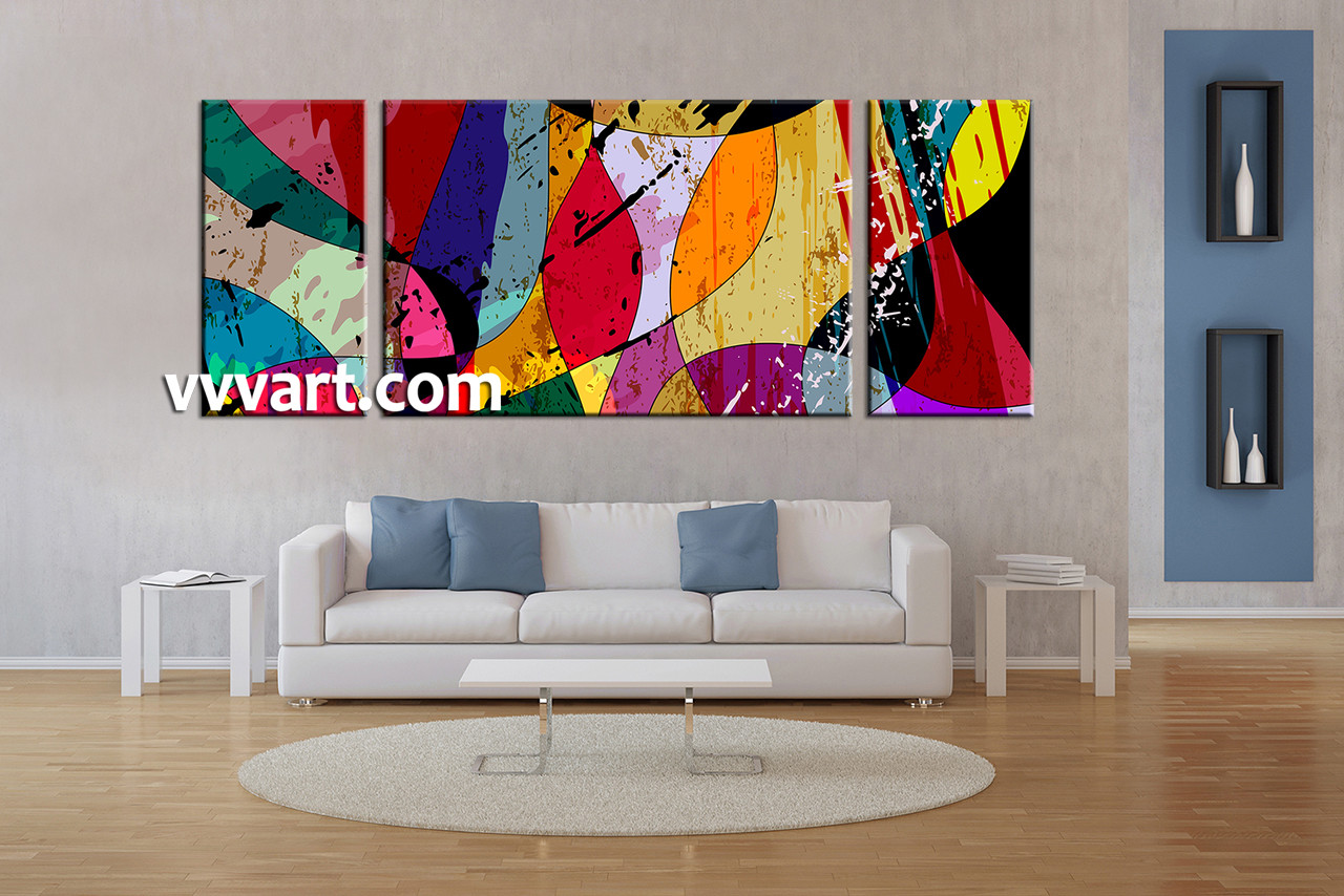 Living Room Pictures, 3 Piece Canvas Wall Art, Oil Paintings Decor,  Abstract Huge Part 44