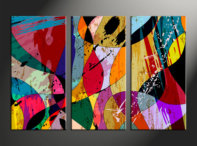 3pieces Modern Abstract Huge Wall Art Oil Painting On: 3 Piece Colorful Home Decor Abstract Huge Canvas Art