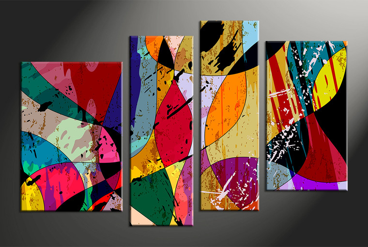 4 piece colorful home decor abstract canvas wall art. Black Bedroom Furniture Sets. Home Design Ideas