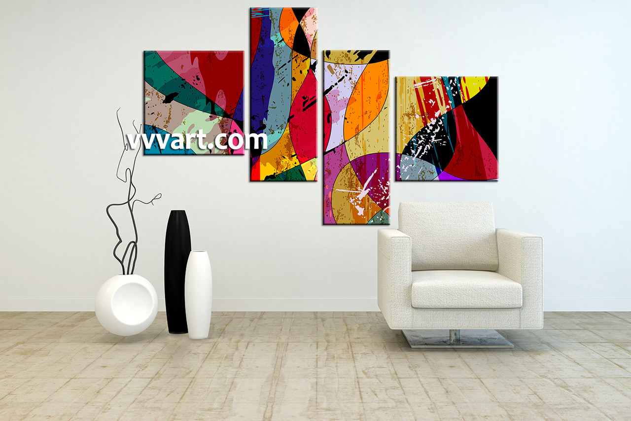 4 piece colorful home decor abstract photo canvas. Black Bedroom Furniture Sets. Home Design Ideas
