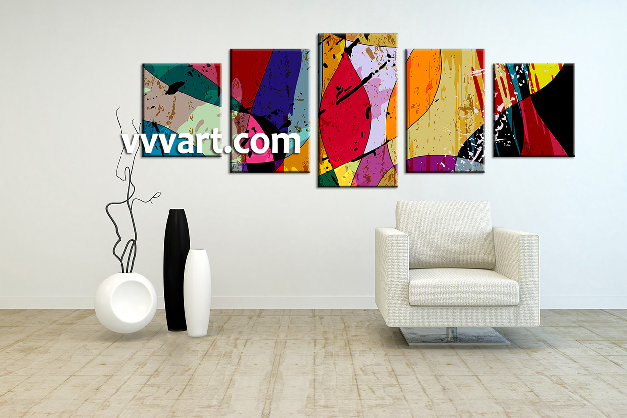 Modern Art Paintings For Living Room 5 Piece Canvas Colorful Home Decor Abstract Multi Panel Art