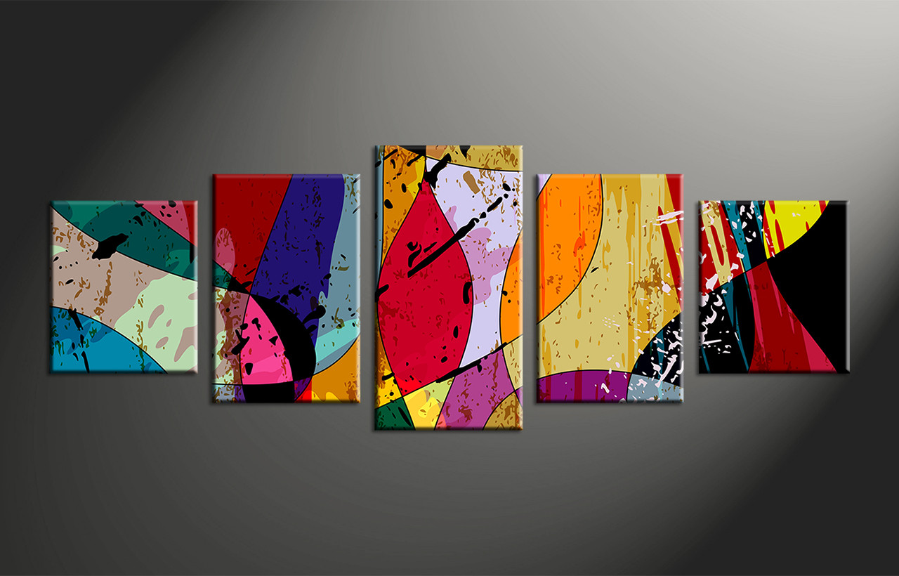 5 piece canvas colorful home decor abstract multi panel art for Large colorful wall art