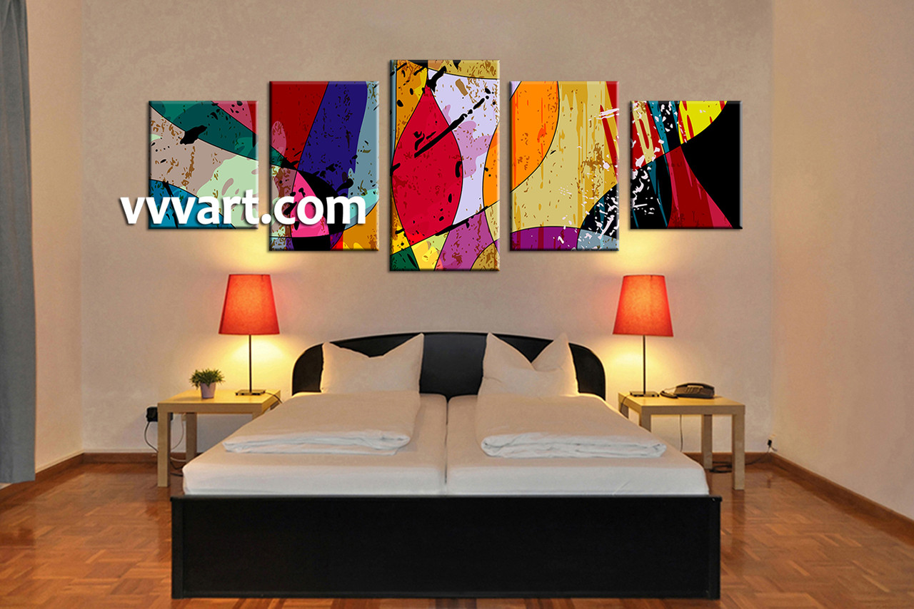 Abstract Wall Decor 5 piece canvas colorful home decor abstract multi panel art
