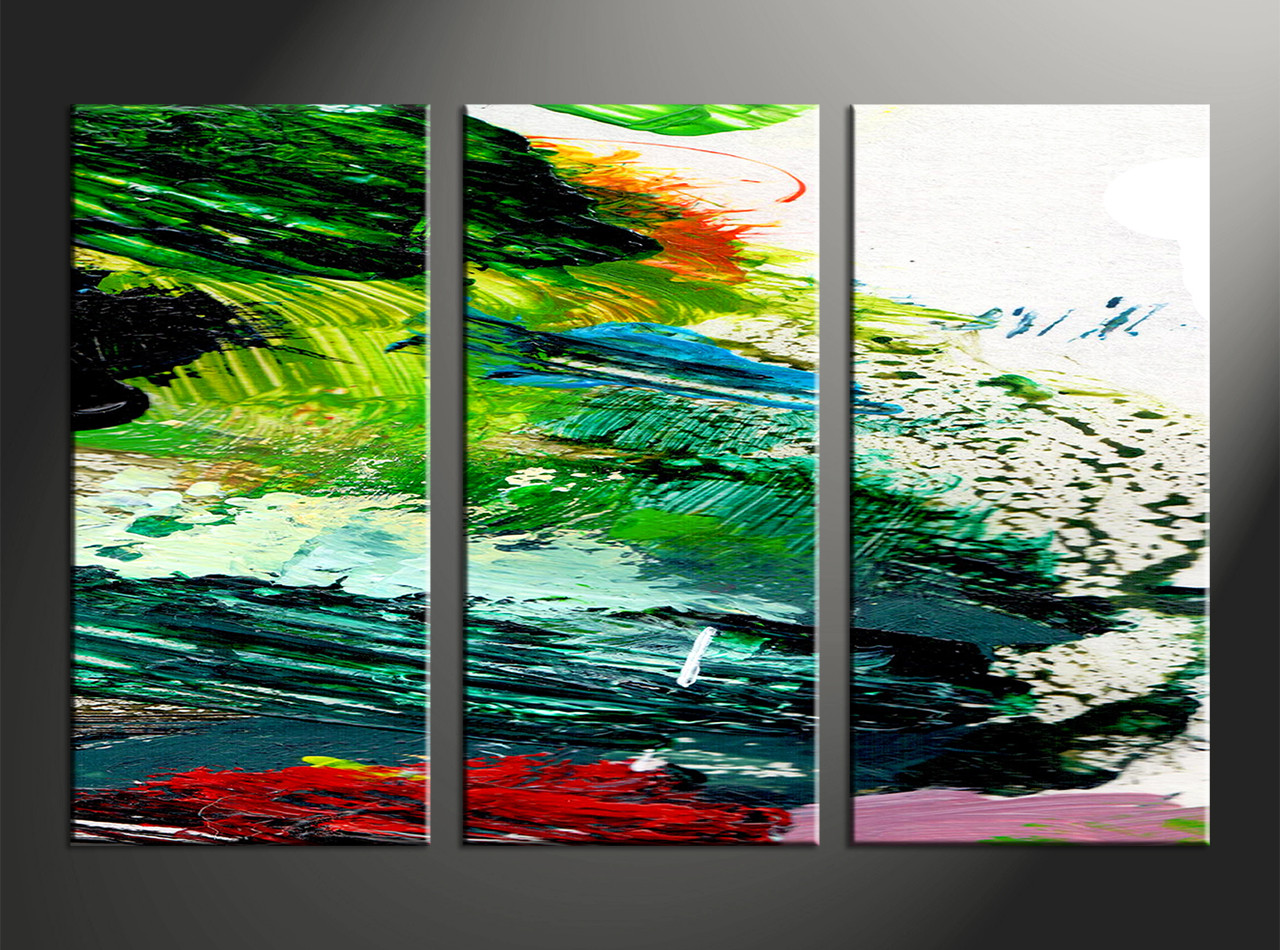 3pieces Modern Abstract Huge Wall Art Oil Painting On: 3 Piece Canvas Green Abstract Oil Paintings Pictures