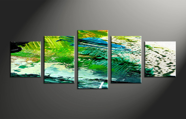 5 Piece Canvas Green Abstract Oil Paintings Decor