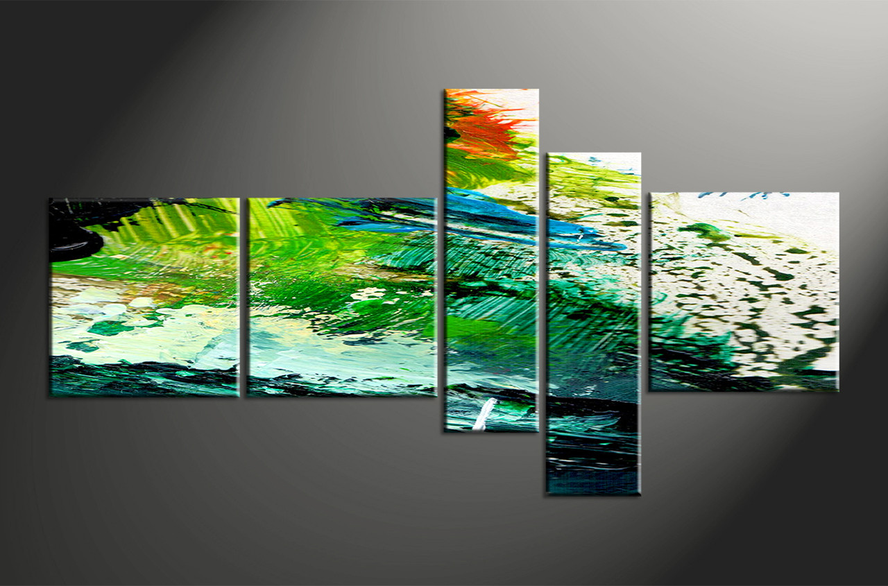Five Piece Canvas Wall Art 5 piece green abstract oil paintings group canvas
