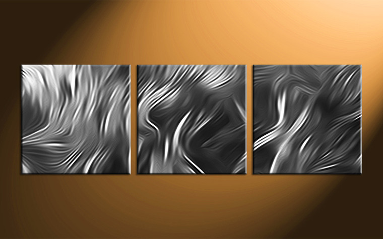 3 Piece Abstract Grey Huge Pictures