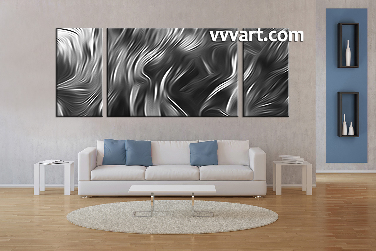 Living Room Art, 3 Piece Canvas Wall Art, Abstract Multi Panel Art, Black