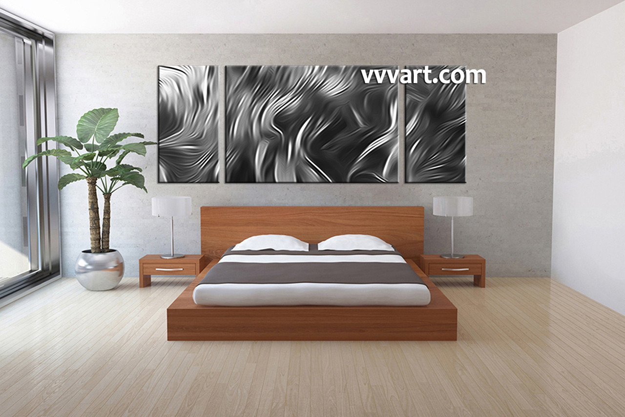3 piece canvas abstract grey artwork for Large bedroom paintings