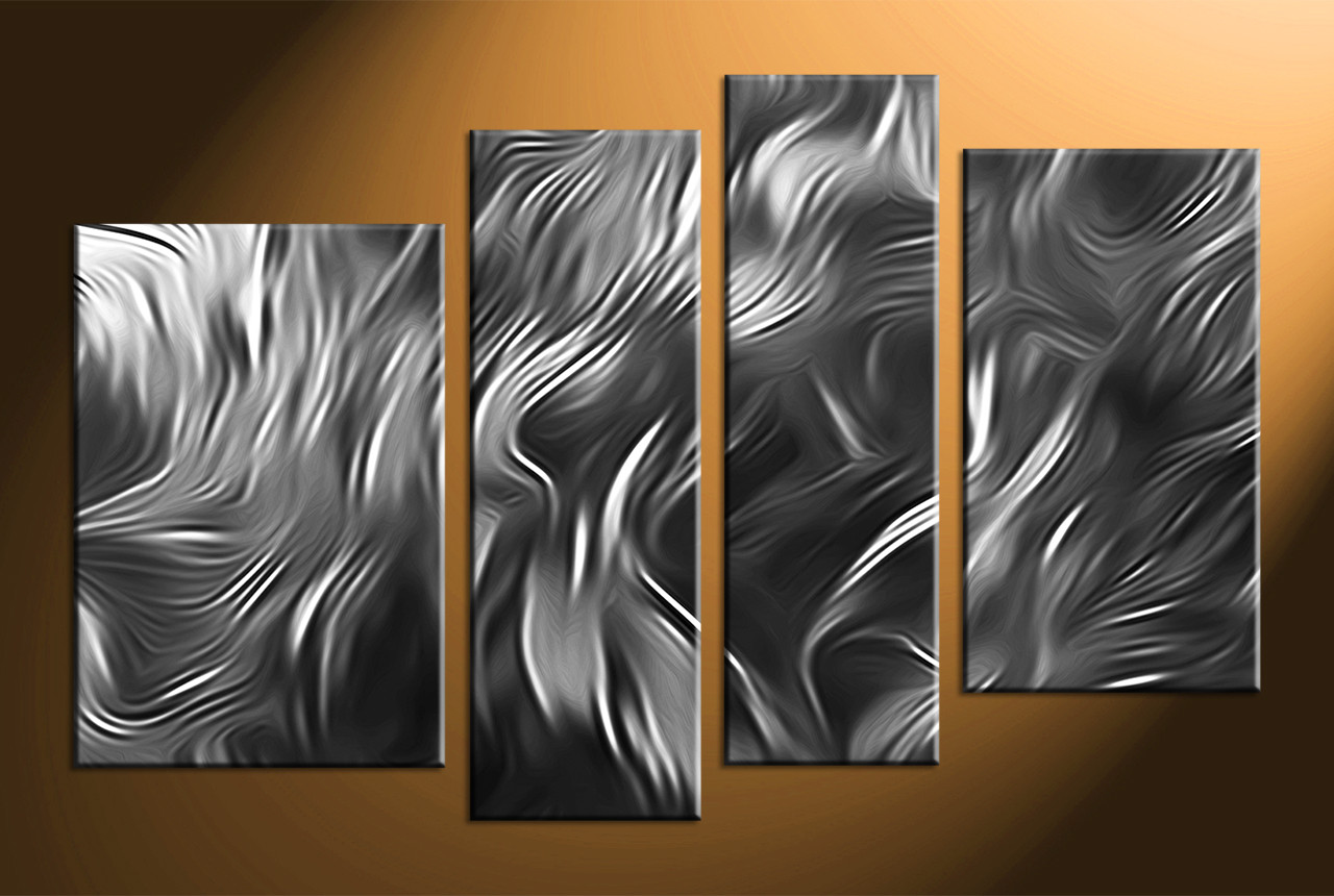 Home Wall Decor, 4 Piece Canvas Wall Art, Abstract Canvas Photography,  Black And