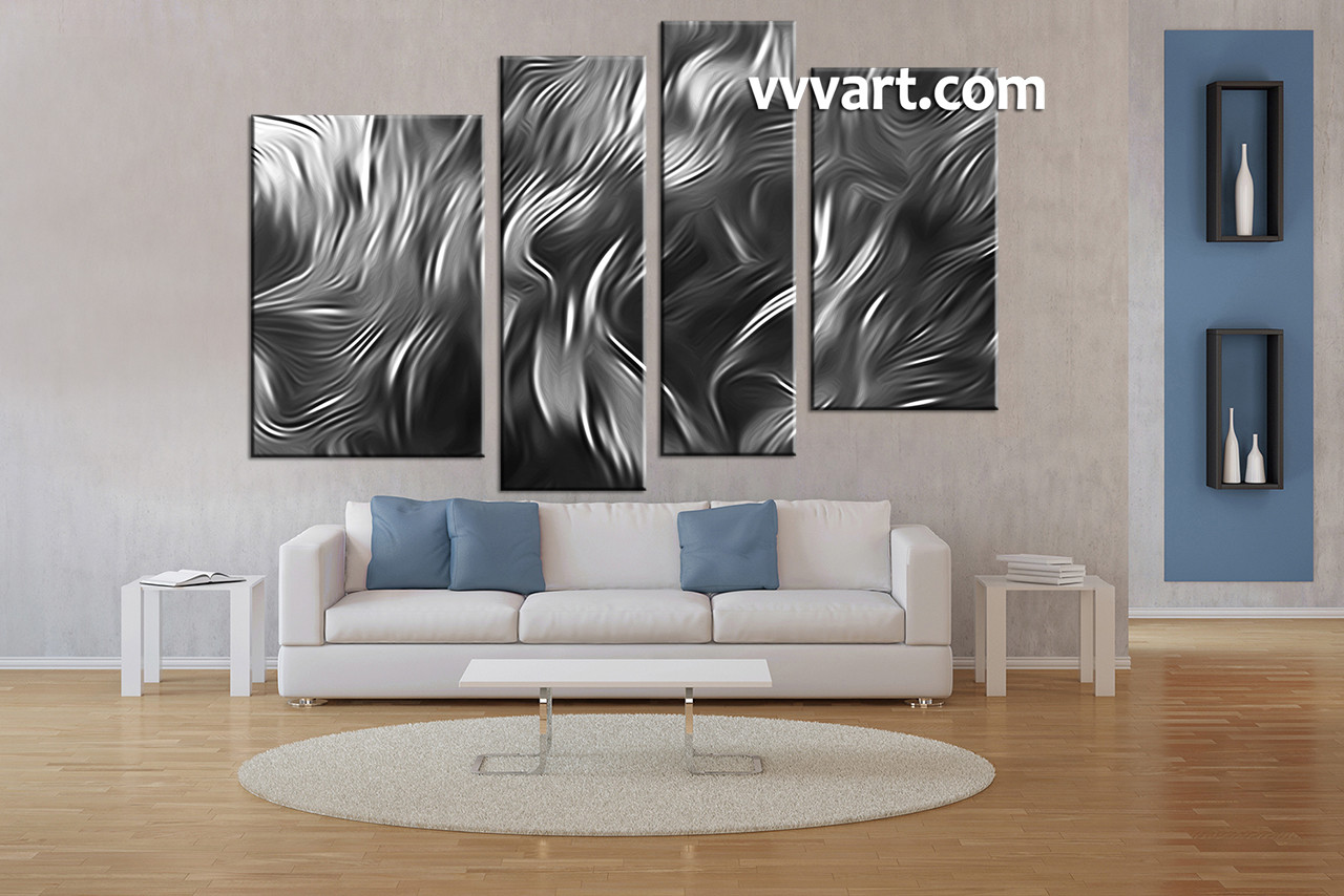 Living Room Art, 4 Piece Canvas Wall Art, Black And White Decor, Abstract